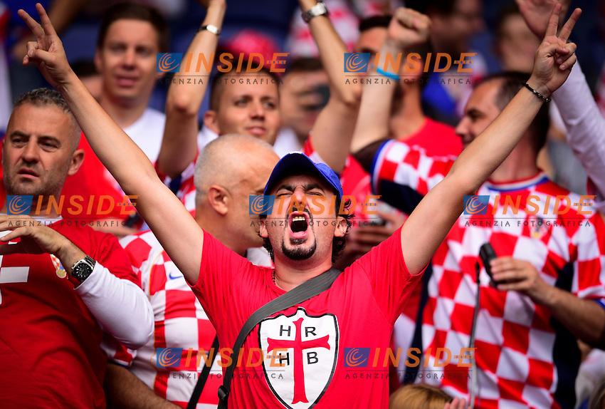 Tifosi Croazia Supporters Croatia <br /> Paris 12-06-2016 Parc des Princes Football Euro2016 Turkey - Croatia / Turchia - Croazia Group Stage Group D. Foto Panoramic / Insidefoto