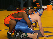 Desmond Daley and Jared Rosado wrestle at the 215 weight class during the NY State Wrestling Championships at Blue Cross Arena on March 8, 2008 in Rochester, New York.  (Copyright Mike Janes Photography)