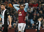 Ezri Konsa of Aston Villa reacts to a missed chance to score during the Premier League match at Villa Park, Birmingham. Picture date: 25th November 2019. Picture credit should read: Darren Staples/Sportimage