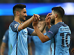 Ilkay Gundogan of Manchester City celebrates with Sergio Aguero of Manchester City during the UEFA Champions League Group C match at The Etihad Stadium, Manchester. Picture date: September 14th, 2016. Pic Simon Bellis/Sportimage