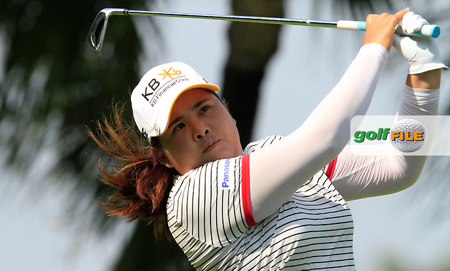 Inbee Park (KOR) on the 2nd tee during Round 3 of the HSBC Women's Champions at the Sentosa Golf Club, The Serapong Course in Singapore on Saturday 7th March 2015.<br /> Picture:  Thos Caffrey / www.golffile.ie