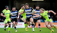 Ollie Devoto of Bath Rugby goes on the attack. Aviva Premiership match, between Bath Rugby and Sale Sharks on April 23, 2016 at the Recreation Ground in Bath, England. Photo by: Alexander Davidson / JMP for Onside Images