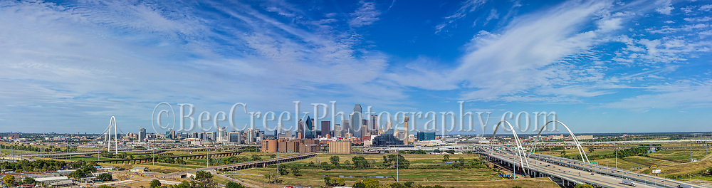 This Dallas skyline image of the city with it latest edition of the new Santiago Calatrava arch called the Margaret McDermontt bridge or I30, along with the Margaret Hunt Hill Bridge in view. The cityscape is enhanced because of the two bridges which help the flow of traffic into the city downtown area. The two bridge both cross the Trinity River and this area has a hike an bike trail between the two bridges.  Dallas is a very urban modern city with many of the taller skyscraper buildings in the view along with the popular Reunion Tower to the right in the city. The new McDermonett bridge is 350 feet and will eventurally have pedestrian and bike paths between the I30.