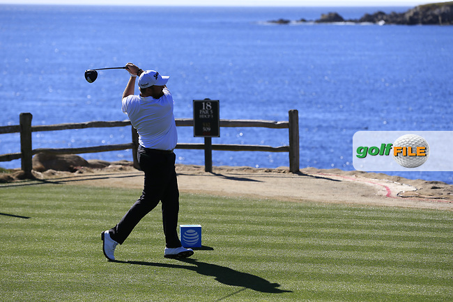 Shane Lowry (IRL) tees off the 18th tee at Pebble Beach course during Friday's Round 2 of the 2018 AT&amp;T Pebble Beach Pro-Am, held over 3 courses Pebble Beach, Spyglass Hill and Monterey, California, USA. 9th February 2018.<br /> Picture: Eoin Clarke | Golffile<br /> <br /> <br /> All photos usage must carry mandatory copyright credit (&copy; Golffile | Eoin Clarke)