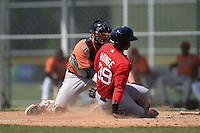 Baltimore Orioles Jonah Heim (86) tags Joseph Monge (39) sliding home during a minor league spring training game against the Boston Red Sox on March 20, 2015 at the Buck O'Neil Complex in Sarasota, Florida.  (Mike Janes/Four Seam Images)