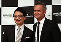 May 31, 2016, Tokyo, Japan - Amazon Japan president Jasper Cheung (L) smiles with Amazon Studio head Roy Price at a promotional event for Amazon Prime Video in Tokyo on Tuesday, May 31, 2016. Amazon Japan announced they would increase original contents for Amazon' video distribution service in Japan.      (Photo by Yoshio Tsunoda/AFLO)