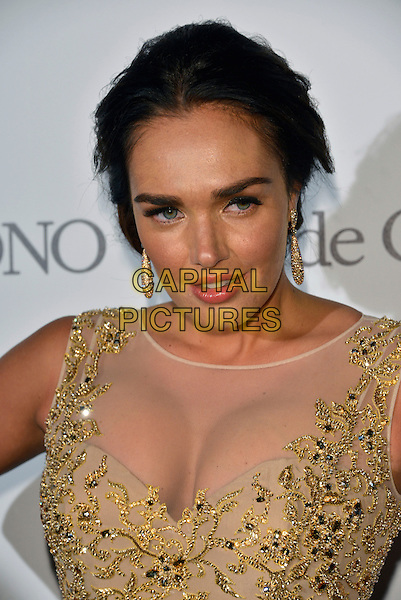 Tamara Ecclestone. 'De Grisogono' party arrivals at the Eden Roc, Hotel du Cap, Antibes during the 66th  Cannes Film Festival, France 21st May 2013.headshot portrait cleavage dangling earrings gold  sheer beads beaded embellished jewel encrusted .CAP/PL.©Phil Loftus/Capital Pictures.