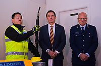 Minister of Police Stuart Nash (centre) and deputy Police commisioner Mike Clement (right). NZ gun buyback scheme. Trentham Racecourse in Upper Hutt, New Zealand on Thursday, 4 July 2019. Photo: Dave Lintott / lintottphoto.co.nz