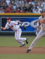 Jun 22, 2007; Phoenix, AZ, USA; Arizona Diamondbacks shortstop (6) Stephen Drew against the Baltimore Orioles at Chase Field. Mandatory Credit: Mark J. Rebilas