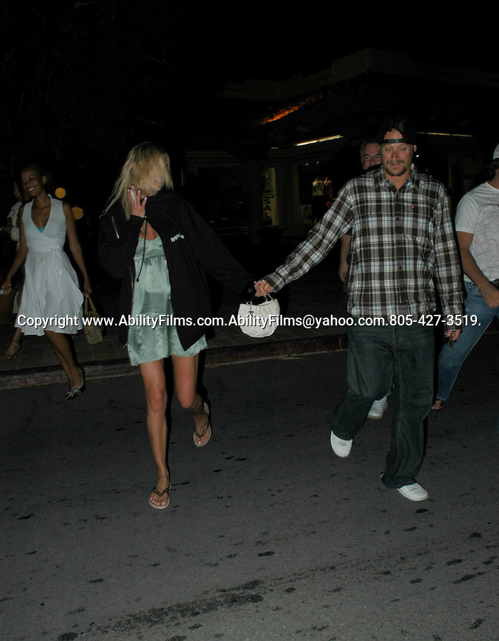 Kid Rock with Jeremy Piven leaving googies restaurant in malibu.