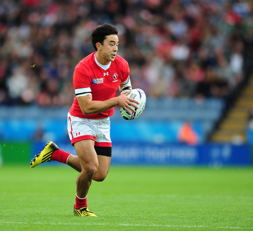 Canada's Nathan Hirayama<br /> <br /> Photographer Chris Vaughan/CameraSport<br /> <br /> Rugby Union - 2015 Rugby World Cup Pool D - Canada v Romania - Tuesday 6th October 2015 - King Power Stadium, Leicester <br /> <br /> &copy; CameraSport - 43 Linden Ave. Countesthorpe. Leicester. England. LE8 5PG - Tel: +44 (0) 116 277 4147 - admin@camerasport.com - www.camerasport.com