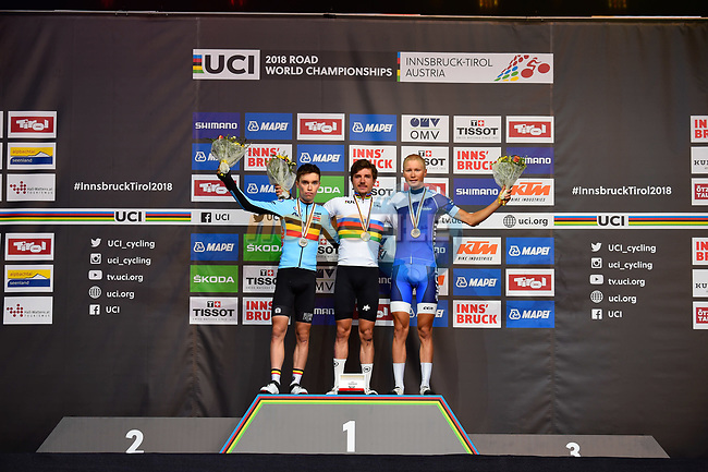 Marc Hirschi (SUI) wins the Men U23 Road Race, with Bjorg Lambrecht (BEL) 2nd place and Jaakko Hanninen (FIN) 3rd, of the 2018 UCI Road World Championships running 179.5km from Wattens to Innsbruck, Innsbruck-Tirol, Austria 2018. 28th September 2018.<br /> Picture: Innsbruck-Tirol 2018/Dario Belingheri/BettiniPhoto | Cyclefile<br /> <br /> <br /> All photos usage must carry mandatory copyright credit (© Cyclefile | Innsbruck-Tirol 2018/Dario Belingheri/BettiniPhoto)