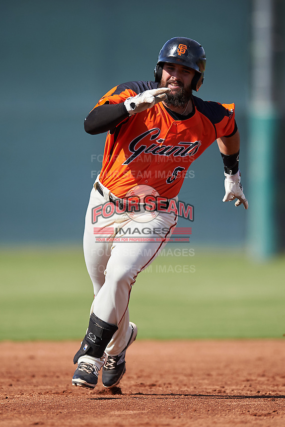 San Francisco Giants T.J. Bennett (8) during an Instructional League game against the Colorado Rockies on October 8, 2016 at the Giants Baseball Complex in Scottsdale, Arizona.  (Mike Janes/Four Seam Images)