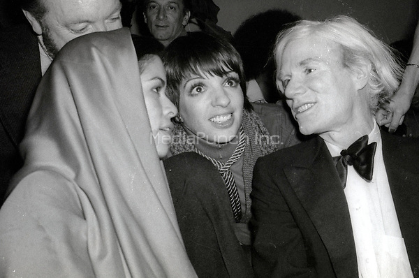 1978 <br /> New York City<br /> Bianca Jagger Liza Minnelli Andy Warhol at Studio 54<br /> Credit: Adam Scull-PHOTOlink/MediaPunch