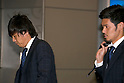"Japan national football team, Yasuhito Endo, Hotaru Yamaguchi, June 27, 2014, Chiba, Japan - (L to R) Yasuhito Endo and Hotaru Yamaguchi arrive at Narita International Airport with other members of the Japan national football team. Members of the Japan national football team arrives at Narita with a disappointed look on their faces. They couldn't advance to the final 16 in ""2014 FIFA World Cup Brazil"" and came back earlier. (Photo by Rodrigo Reyes Marin/AFLO)"