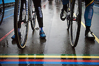 colourful wet start line<br /> <br /> Elite Women's race<br /> UCI 2016 cyclocross World Championships