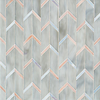 Belen, a waterjet jewel glass mosaic, shown in Alabaster, Dawn Mirror, and Champagne.