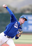 Wildcats' Thomas Kerr pitches against the Utah State University Eastern at Western Nevada College in Carson City, Nev., on Saturday, April 25, 2015. WNC won 7-1.<br /> Photo by Cathleen Allison/Nevada Photo Source