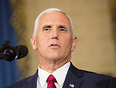 United States Vice President Mike Pence introduces President Trump to make a statement on health care at The White House in Washington, DC, July 24, 2017. <br /> Credit: Chris Kleponis / CNP