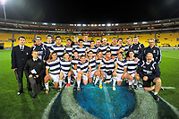 The PNBHS team poses for a group photo after the Transit Coachlines 1st XV Tournament rugby match between Wellington College and Palmerston North Boys' High School at Westpac Stadium in Wellington, New Zealand on Saturday, 20 May 2017. Photo: Dave Lintott / lintottphoto.co.nz