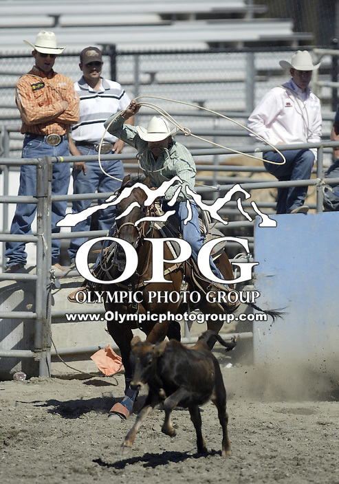 27 Aug 2009:  Duke Williams from Bend, Oregon was not able to record a score in the Tie Down roping competition at the Kitsap County Thunderbird PRCA Pro Rodeo in Bremerton, Washington.