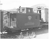 RGS caboose #0409 in Durango yards as Tomahawk and Western caboose decorated for the movie &quot;Ticket to Tomahawk.&quot;<br /> RGS  Durango, CO
