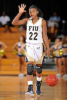 21 January 2012:  FIU guard Jerica Coley (22) signals to teammates in the second half as the Florida Atlantic University Owls defeated the FIU Golden Panthers, 50-49, at the U.S. Century Bank Arena in Miami, Florida.