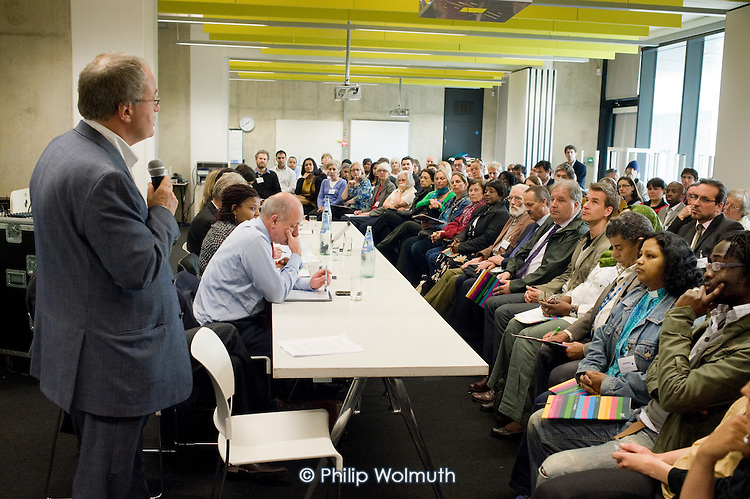 Westminster Council Leader Colin Barrow addresses Paddington Community Conference, organised by Paddington Development Trust (PDT) at Westminster Academy.