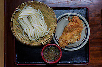 Zaru udon with chicken tempura and dipping sauce at Kirin Udon.