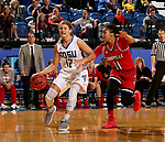BROOKINGS, SD - DECEMBER 3: Macy Miller #12 from South Dakota State takes the ball to the basket past Arica Carter #11 from Louisville during their game Sunday afternoon at Frost Arena in Brookings, SD.  (Photo by Dave Eggen/Inertia)