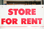 Red and White Store For Rent Sign