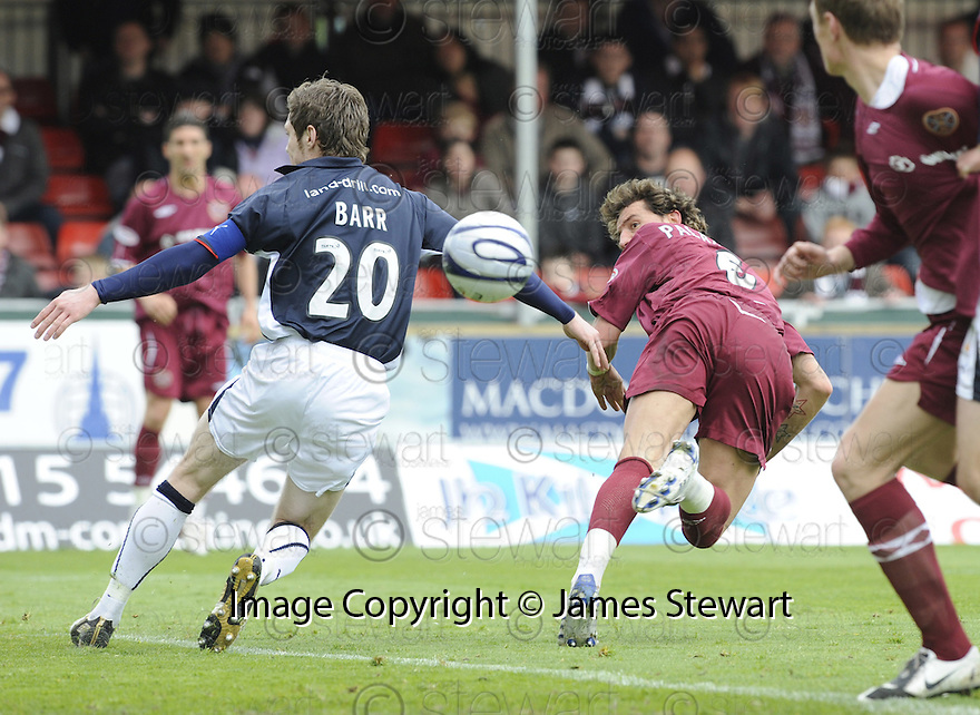 18/04/2009  Copyright Pic: James Stewart.sct_jspa01_falkirk_v_hearts.RUBEN PALAZUELOS HEADS TOWRDS GOAL.James Stewart Photography 19 Carronlea Drive, Falkirk. FK2 8DN      Vat Reg No. 607 6932 25.Telephone      : +44 (0)1324 570291 .Mobile              : +44 (0)7721 416997.E-mail  :  jim@jspa.co.uk.If you require further information then contact Jim Stewart on any of the numbers above.........