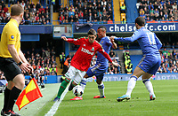 Pictured: Pablo Hernandez is forrced along the touch line by Ashley Cole<br />