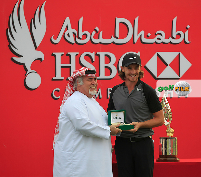 Tommy Fleetwood (ENG) winner of the Abu Dhabi HSBC Championship on Sunday 22nd January 2017. He receives a new Rolex watch for winning.<br /> Picture:  Thos Caffrey / Golffile<br /> <br /> All photo usage must carry mandatory copyright credit     (&copy; Golffile | Thos Caffrey)