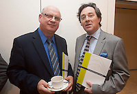 ***NO FEE PIC ***<br /> 23/04/2015<br /> (L to r) Gerry O' Kelly Burke Shipping Group &amp; John Lynch Rosslare Europort<br /> during the  launch by the Irish Maritime Development Office (IMDO) of its Irish Maritime Transport Economist report at the Morrison Hotel , Dublin.<br /> Photo:  Gareth Chaney Collins