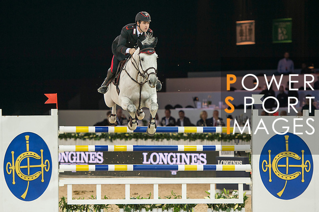 Emanuele Gaudiano of Italy riding Caspar during the Hong Kong Jockey Club Trophy competition, part of the Longines Masters of Hong Kong on 10 February 2017 at the Asia World Expo in Hong Kong, China. Photo by Marcio Rodrigo Machado / Power Sport Images