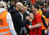 20200201 Herentals , BELGIUM :  Supporter celebration Belgium's Leo (11) after the futsal indoor soccer game between the Belgian Futsal Devils of Belgium and Montenegro on the third and last matchday in group B of the UEFA Futsal Euro 2022 Qualifying or preliminary round , Saturday 1st February 2020 at the Sport Vlaanderen sports hall in Herentals , Belgium . PHOTO SPORTPIX.BE | Sevil Oktem