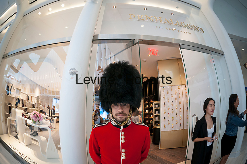 An actor portraying a Queen's Guard outside of a Penhaligon's perfumers in the World Trade Center Transportation Hub, known as the Oculus, on Tuesday, August 16, 2016 during the grand opening of the retail spaces. The 350,000 square foot retail space will feature over 100 stores when they all open, including a now opened Apple Store. The mall opens almost 15 years after the World Trade Center terrorist attack.  (© Richard B. Levine)