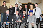 HALL: Tom O'Riordan who was the Hall of Fame recipetant at the Munster Athletic Awards Dinner in the Brandon Hotel, Tralee on Saturday night. Front l-r: Mossie Woulfe (chairman munstyer AAI), Tom O'Riordan (Hall of Fame,Ardfert), Liam Hennessy (president AAI) and Martin Fitzgerald (Kerry AAI). Back l-r: Mark Landers, Lorraine O'Connor, Patsy O'Connor and Kaye O'Connor (Knocknagoshel), Damian McLoughlin (Tralee), Karen and Alan PO'Connor (Knocknagoshel)............. ....