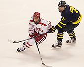 Matt Lane (BU - 21), Ethan Spaxman (Merrimack - 5) - The Boston University Terriers defeated the visiting Merrimack College Warriors 4-0 (EN) on Friday, January 29, 2016, at Agganis Arena in Boston, Massachusetts.