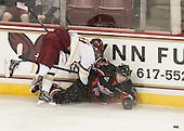Matthew Gaudreau (BC - 21), Cam Braes (UNB - 10) - The Boston College Eagles defeated the visiting University of New Brunswick Varsity Reds 6-4 in an exhibition game on Saturday, October 4, 2014, at Kelley Rink in Conte Forum in Chestnut Hill, Massachusetts.