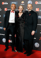 Dr. Bonaventura Clotet, Director of Fundacion Lucha Contra el SIDA; Mahala Alzamora, Diretor of Mahala Comunication and actor Miguel Bose during Barcelona 5th AIDS Ceremony. November 24,2014.(ALTERPHOTOS/Acero) /NortePhoto<br />