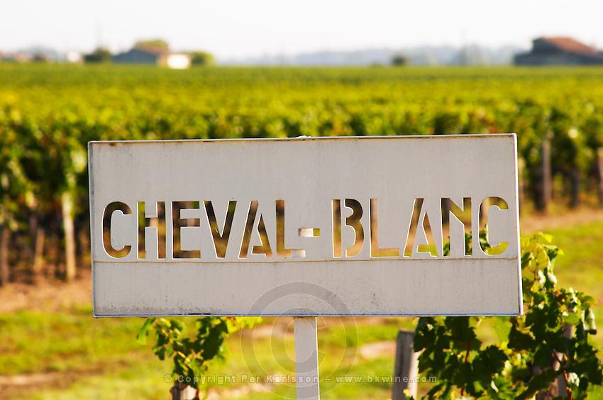 A sign saying Chateau Cheval Blanc in Saint Emilion, Bordeaux