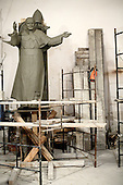 Cracow, Poland March 1, 2011:.Clay figure of pope John Paul II at Czeslaw Dzwigaj sculptor workshop, working on a  monument of . Dzwigaj has made over 70 sculptures of the late pope.. (Photo by Piotr Malecki / Napo Images)..Krakow, 1/03/2011:.Gliniany pomnik papieza Jana Pawla II  w pracowni profesora Czeslawa Dzwigaja.  Powstaly tu juz 72 pomniki papieza Jana Pawla II.Fot: Piotr Malecki / Napo Images