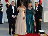 U.S. President Barack Obama (R) and First Lady Michelle Obama (2nd,L) welcome Norway's Prime Minister Erna Solberg (2nd,R) and her spouse Sindre Finnes, for a State Dinner for Nordic leaders, at the White House, May 13, 2016, in Washington, DC.     <br /> Credit: Mike Theiler / Pool via CNP