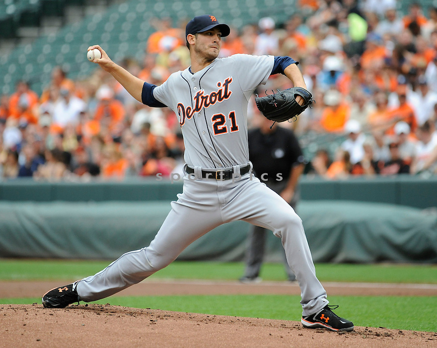 Detroit Tigers Rick Porcello (21) during a game against the Baltimore Orioles on June 2, 2013 at Oriole Park in Baltimore, MD. The Orioles beat the Tigers 4-2.