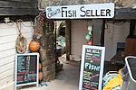 The Fish Seller shop sign, Cadgwith, Lizard peninsula, Cornwall, England, UK