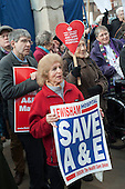Health workers, patients, local residents and trade unions take part in a Save Lewisham Hospital Campaign rally outside the hospital to protest at proposed closure of A&E and maternity services.