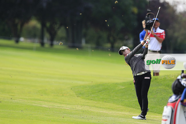 Mi Hyang Lee (KOR) plays her 2nd shot on the 12th hole during Sunday's Final Round of the LPGA 2015 Evian Championship, held at the Evian Resort Golf Club, Evian les Bains, France. 13th September 2015.<br /> Picture Eoin Clarke | Golffile