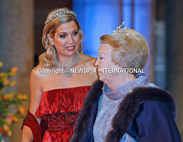 "QUEEN BEATRIX AND CROWN PRINCESS MAXIMA.attend the gala farewell dinner for Queen Beatrix at the Rijksmuseum in Amsterdam, The Netherlands_April 29, 2013..Crown Prince Willem-Alexander and Crown Princess Maxima will be proclaimed King and Queen  of The Netherlands on the abdication of Queen Beatrix on 30th April 2013..Mandatory Credit Photos: ©NEWSPIX INTERNATIONAL..**ALL FEES PAYABLE TO: ""NEWSPIX INTERNATIONAL""**..PHOTO CREDIT MANDATORY!!: NEWSPIX INTERNATIONAL(Failure to credit will incur a surcharge of 100% of reproduction fees)..IMMEDIATE CONFIRMATION OF USAGE REQUIRED:.Newspix International, 31 Chinnery Hill, Bishop's Stortford, ENGLAND CM23 3PS.Tel:+441279 324672  ; Fax: +441279656877.Mobile:  0777568 1153.e-mail: info@newspixinternational.co.uk"